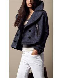 Burberry Brit - Oversize Cropped Pea Coat - Lyst