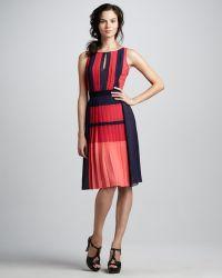 BCBGMAXAZRIA Jesia Pleated Colorblock Dress - Lyst