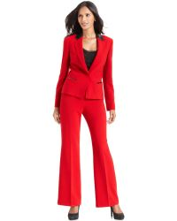 Anne Klein - Faux Leather Trim Pant Suit - Lyst
