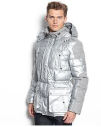 Calvin Klein Macys Holiday Exclusive Two Tone Puffer Coat - Lyst