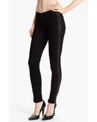 Juicy Couture Leather Tux Stripe Skinny Jeans - Lyst