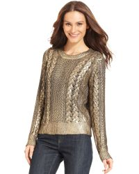 Michael Kors  Metallic Cable Knit Sweater - Lyst
