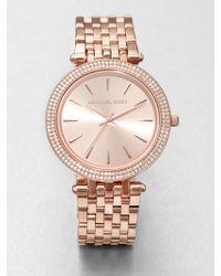 Michael Kors Crystal Rose Goldtone Stainless Steel Watch - Lyst