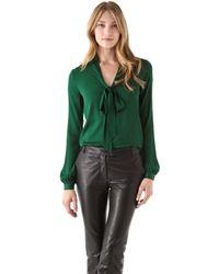Rachel Zoe Nathalie Scarf Collar Top green - Lyst