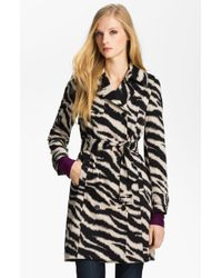 Anne Klein Zebra Print Trench Coat Petite - Lyst