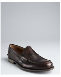 Prada Brown Pebbled Leather Penny Loafers - Lyst
