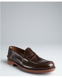 Prada Hickory Leather Penny Loafers - Lyst