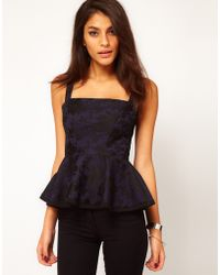 ASOS Collection Asos Bustier in Bonded Lace with Peplum - Lyst