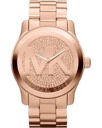 Michael Kors Oversized Rose Golden Stainless Steel Runway Three-Hand Glitz Watch - Lyst