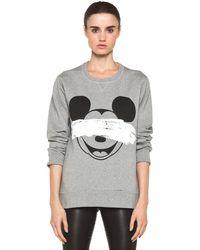 Neil Barrett Mickey Print Sweatshirt in Smoke Melange Black - Lyst