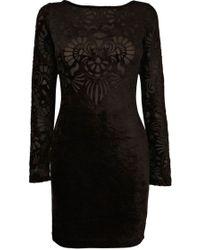 Oasis Velvet Burnout Dress black - Lyst