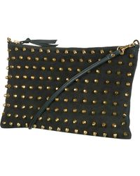 Topshop Studded Suede Clutch black - Lyst