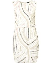 Topshop Sequin Shift Dress beige - Lyst