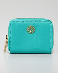 Tory Burch Robinson Zip Coin Case Turquoise - Lyst