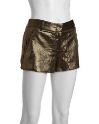 BCBGMAXAZRIA Gold Sheen Woven Patch Pocket Bruna Shorts - Lyst