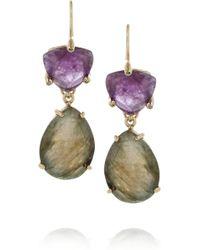 Isharya - Libra Goldplated Amethyst and Labradorite Earrings - Lyst