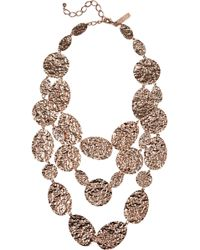 Oscar de la Renta Hammered Rose Gold Plated Multistrand Necklace pink - Lyst