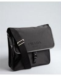 Prada  Nylon and Leather Messenger Bag - Lyst