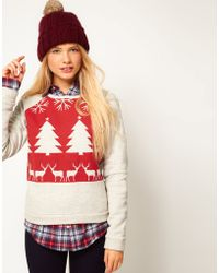 ASOS Collection | Sweatshirt with Christmas Fair Isle Print | Lyst