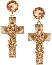 Asos Jewel Cross Earrings gold - Lyst