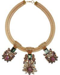 Bijoux Heart - Empress 24karat Goldplated Opal Aquamarine and Amythest Necklace - Lyst