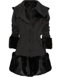 Burberry Prorsum Rabbit Trimmed Wool and Cashmere Blend Coat - Lyst