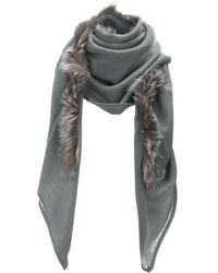 Charlotte And Lisa Grey Wool Centre Fur Scarf gray - Lyst