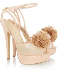 Charlotte Olympia Pomeline Crepe De Chine Sandals pink - Lyst