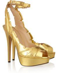 Charlotte Olympia Leaf Me Alone Metallic Leather Sandals - Lyst