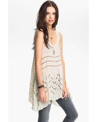 Free People Women'S Lace Trim Tunic - Lyst