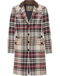 Love Moschino Checked Wool Coat - Lyst