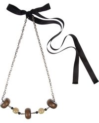 Marni Wood Horn and Bead Necklace - Lyst
