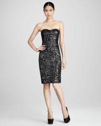 Notte by Marchesa Strapless Sequined Cocktail Dress - Lyst