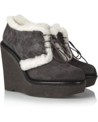 Saint Laurent Shearlinglined Suede Ankle Boots - Lyst