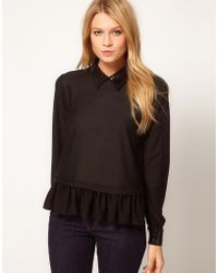 ASOS Collection Asos Top with Peplum with Embellished Collar - Lyst