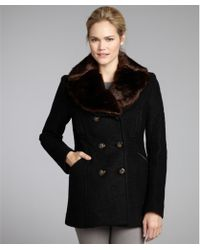 Laundry by Shelli Segal Black Wool-blend Double Breasted Faux Fur Collar Coat - Lyst