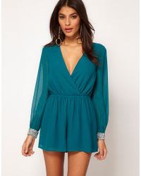 ASOS Collection Asos Playsuit with Embellished Cuff - Lyst