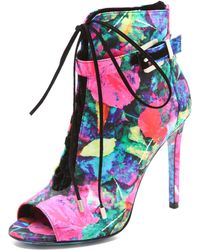 B Brian Atwood Linford Floral Booties - Lyst
