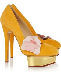 Charlotte Olympia Dolly Suede Platform Pumps gold - Lyst