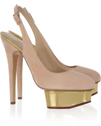 Charlotte Olympia The Dolly Suede Slingback Pumps - Lyst