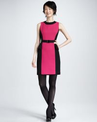 Milly Olivia Belted Dress Fuchsia - Lyst
