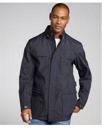 Zegna Sport Blue Nylon Buckle Collar Three Quarter Rain Coat - Lyst