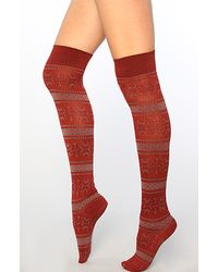 Free People The Fairisle Over The Knee Sock in Burgundy Combo - Lyst