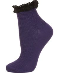 TOPSHOP -  Lace Trim Ankle Socks - Lyst