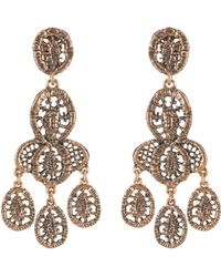 Oscar de la Renta Lace Tiered Chandelier Earring gold - Lyst