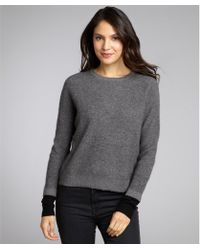 Autumn Cashmere Grey and Black Cashmere Ribbed Colorblocked Cuff Sweater - Lyst