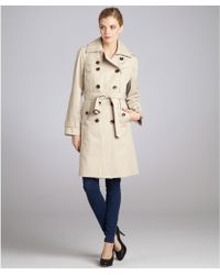 London Fog Stone Cotton Blend Double Breasted Trench - Lyst