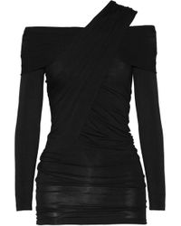 Donna Karan New York Draped Jersey Top black - Lyst