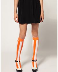 House of Holland - For Pretty Polly Exclusive To Asos Orange Stripe Socks - Lyst