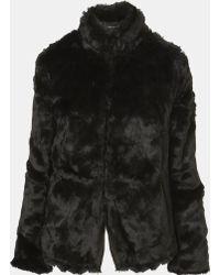 Topshop Faux Fur Jacket black - Lyst